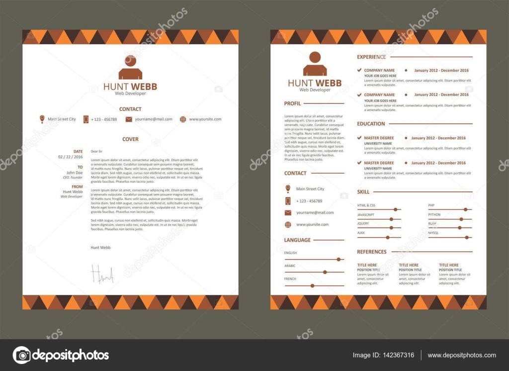 Modelo de curriculum vitae CV Color naranja — Vector de stock ...