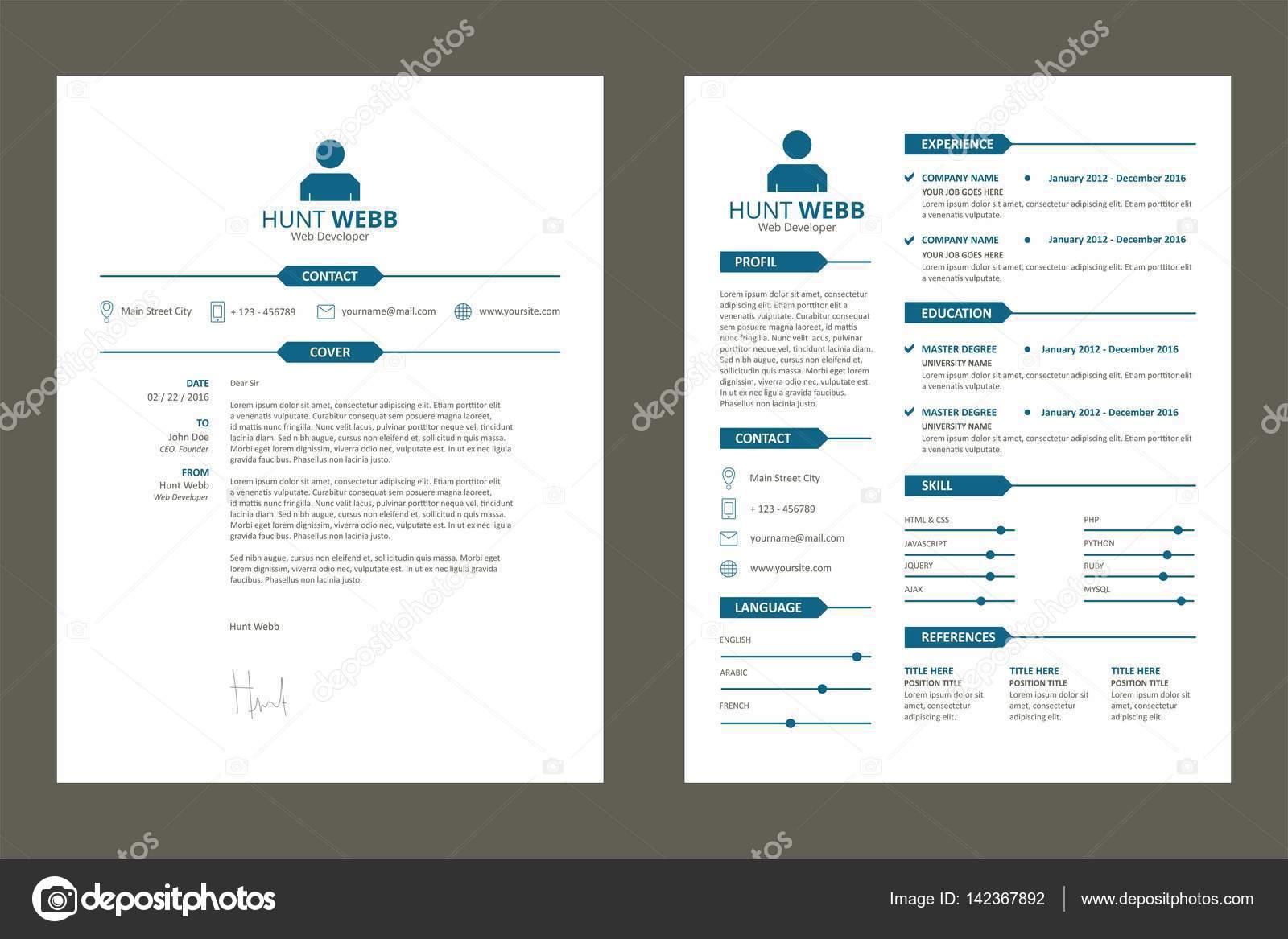 CV, curriculum vitae Curriculum Vitae y carta etiqueta titulo limpio ...