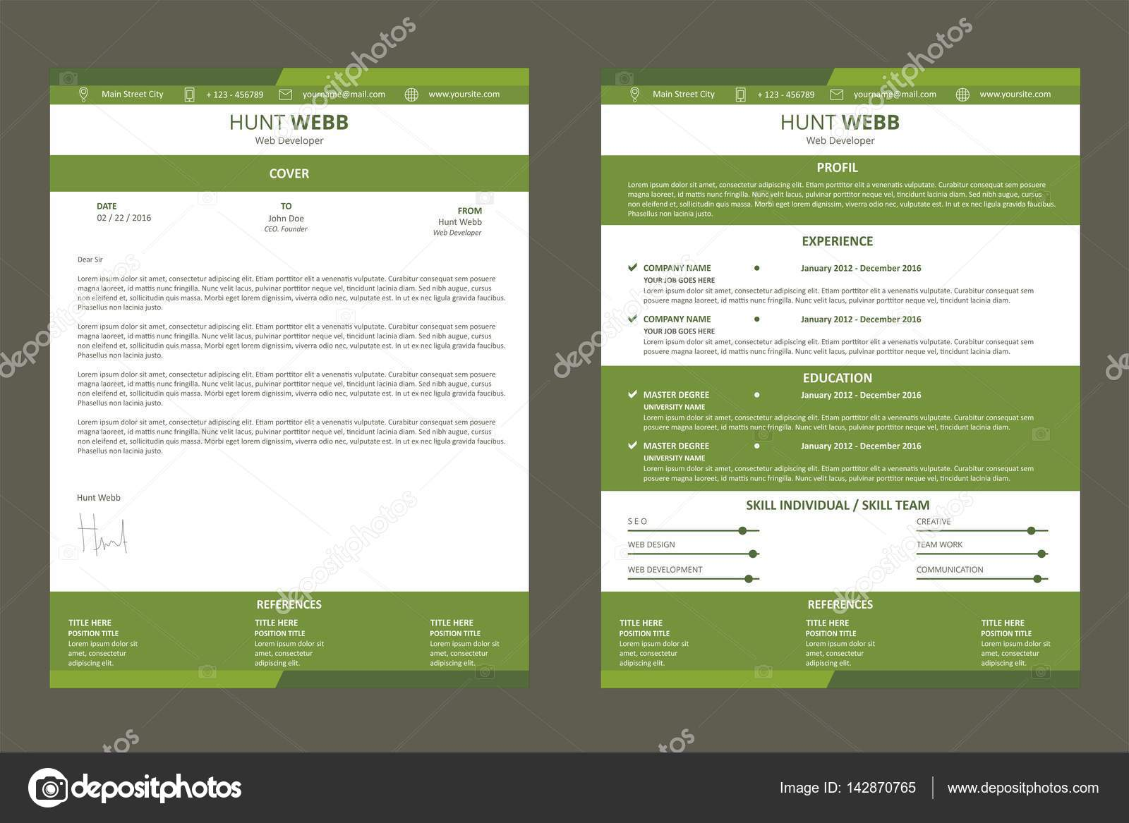 Cv Resume Curriculum Vitae Web Page Design Color Green With Cover