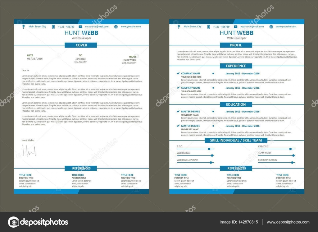 CV Resume, Curriculum Vitae Web Page Flat Design Color Blue With Cover  Letter Template Vector