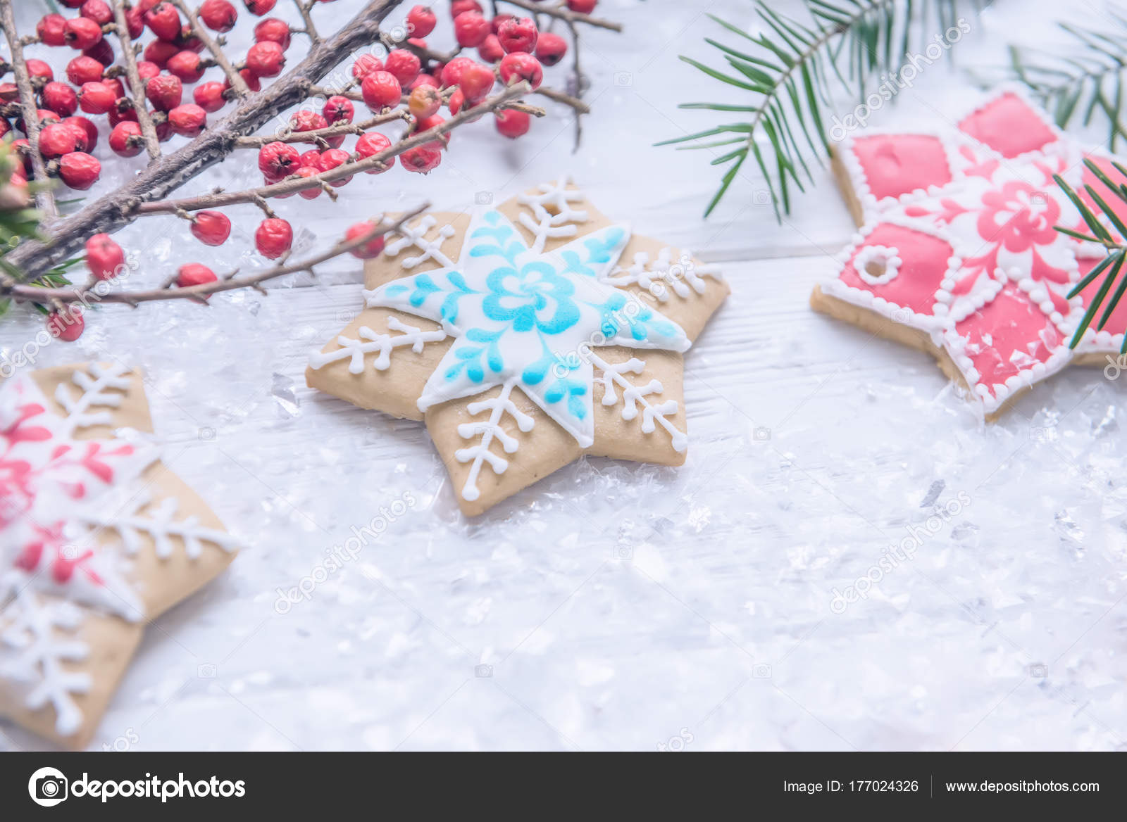 festive christmas new year screensaver postcard background homemade bright gingerbreads stock photo