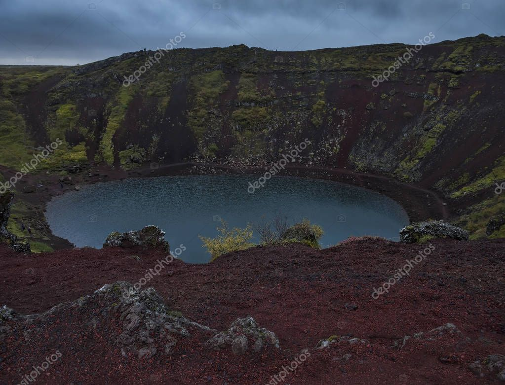 A view from above of the lake in the crater of an extinct volcano. Iceland.