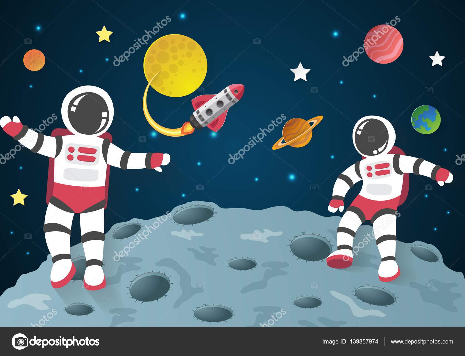Niño Astronauta En El Espacio: Dibujos Animados De Astronautas En La Luna Con Una Nave