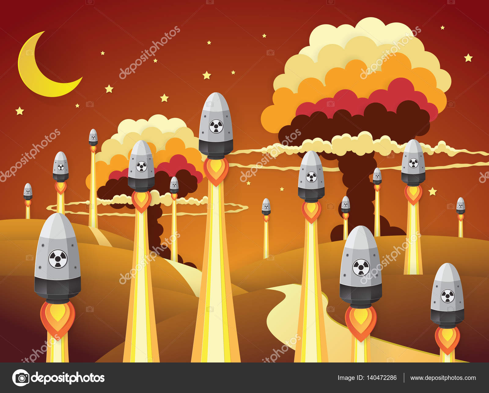 Nuclear war - atom bombs falling,paper art style — Stock