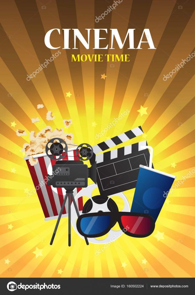 Film Kino-Poster-Design. Vektor Vorlage Banner für Show mit sitzen ...