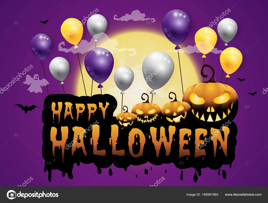 Nice Haunted House And Full Moon With Pumpkins And Ghost,party Happy Halloween  Night Background.