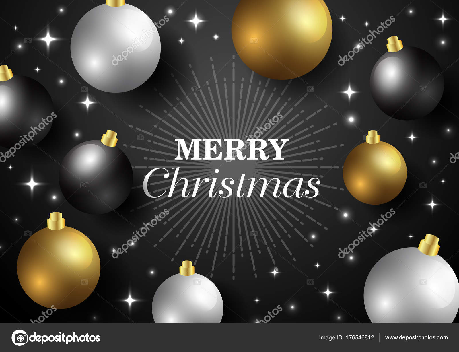 merry christmasnew year card and glitter decoration black and gold background with christmas