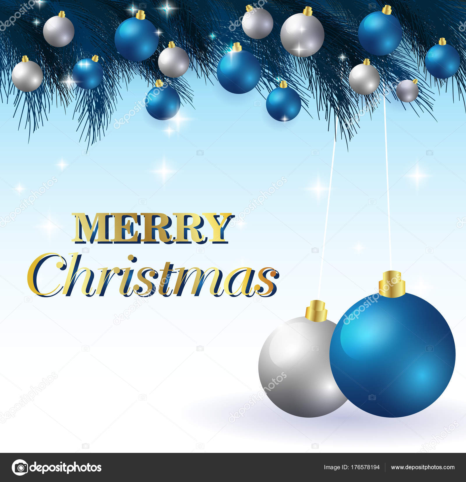 merry christmasnew year card and glitter decoration blue and white background with christmas