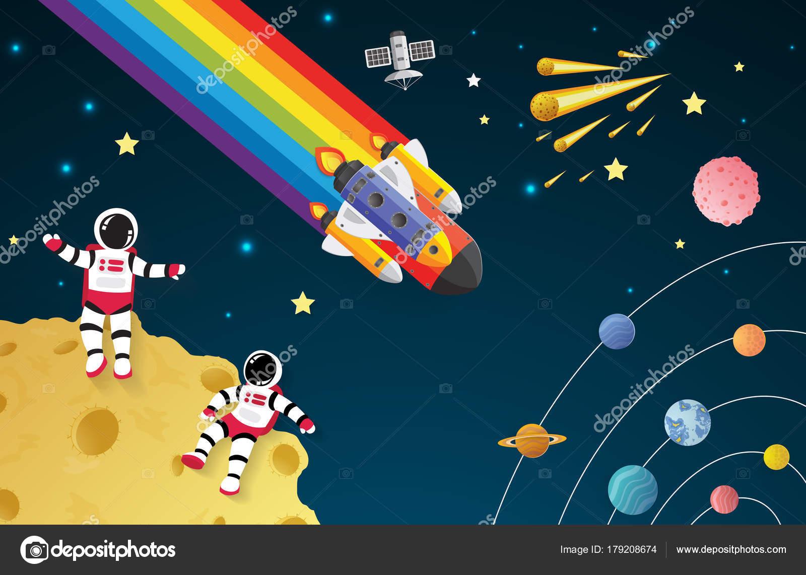 Cohete De Astronauta Y Vintage De Dibujos Animados: Nave Espacial Ninos Astronautas En Caricatura