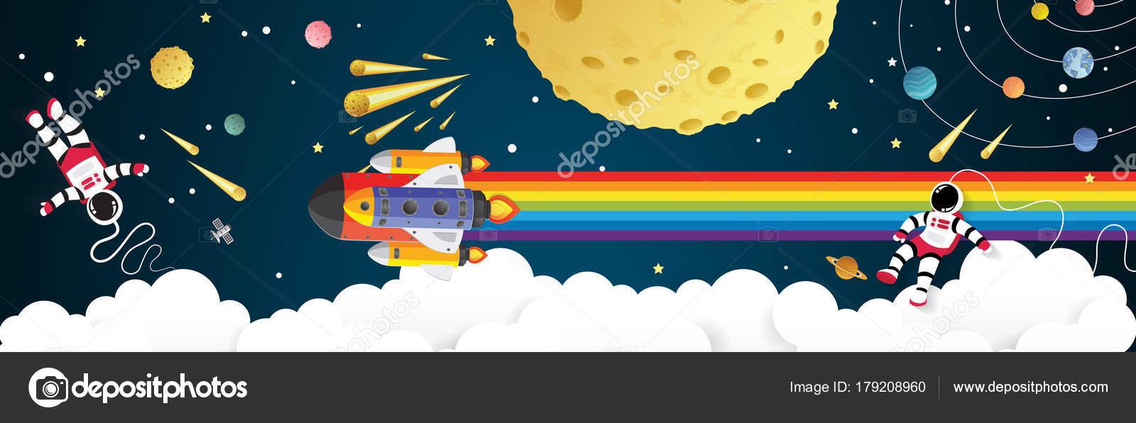 Cohete De Astronauta Y Vintage De Dibujos Animados: Dibujos Animados De Astronautas En La Luna Con Una Nave
