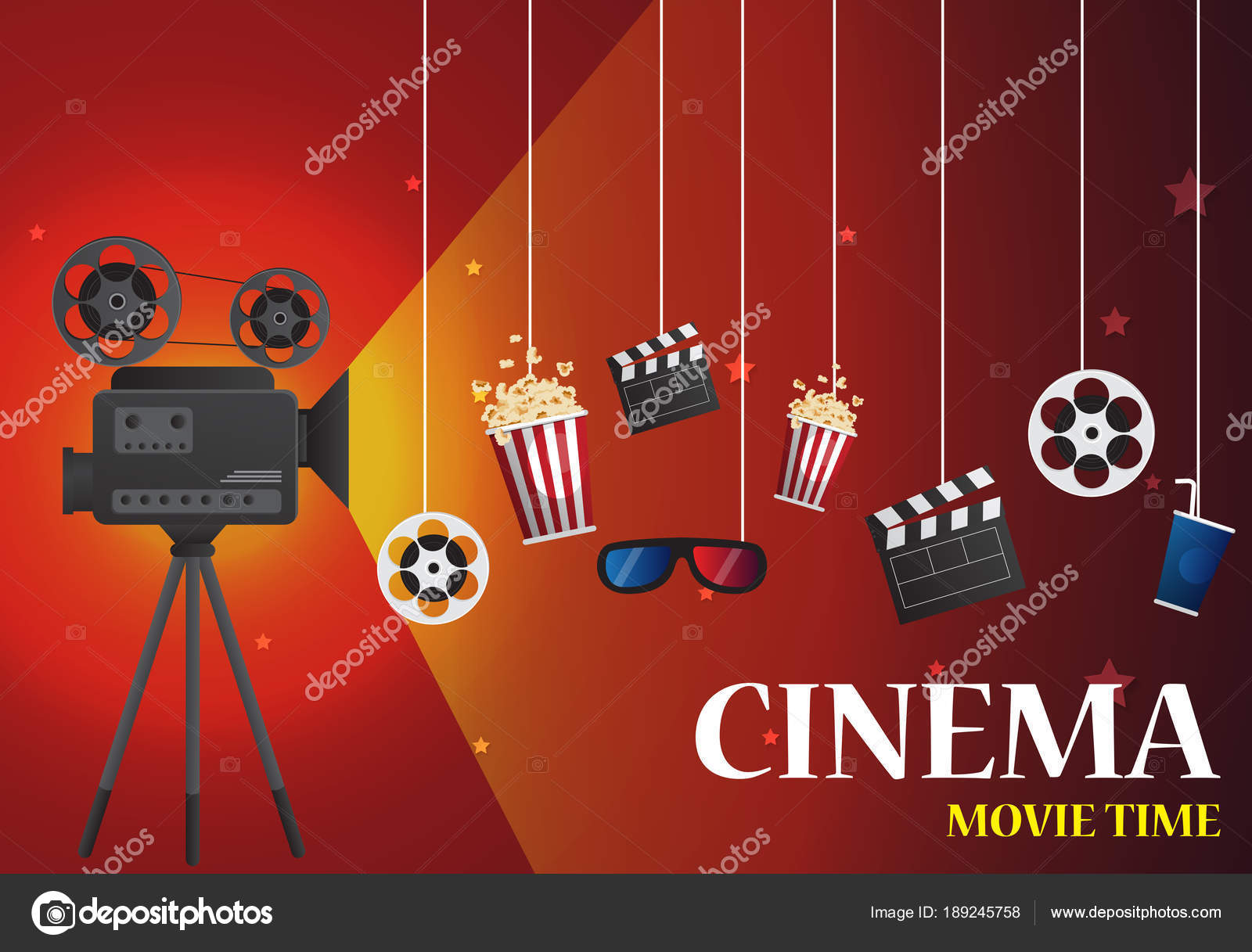 Movie Cinema Poster Design Vector Template Banner For Show With Stock