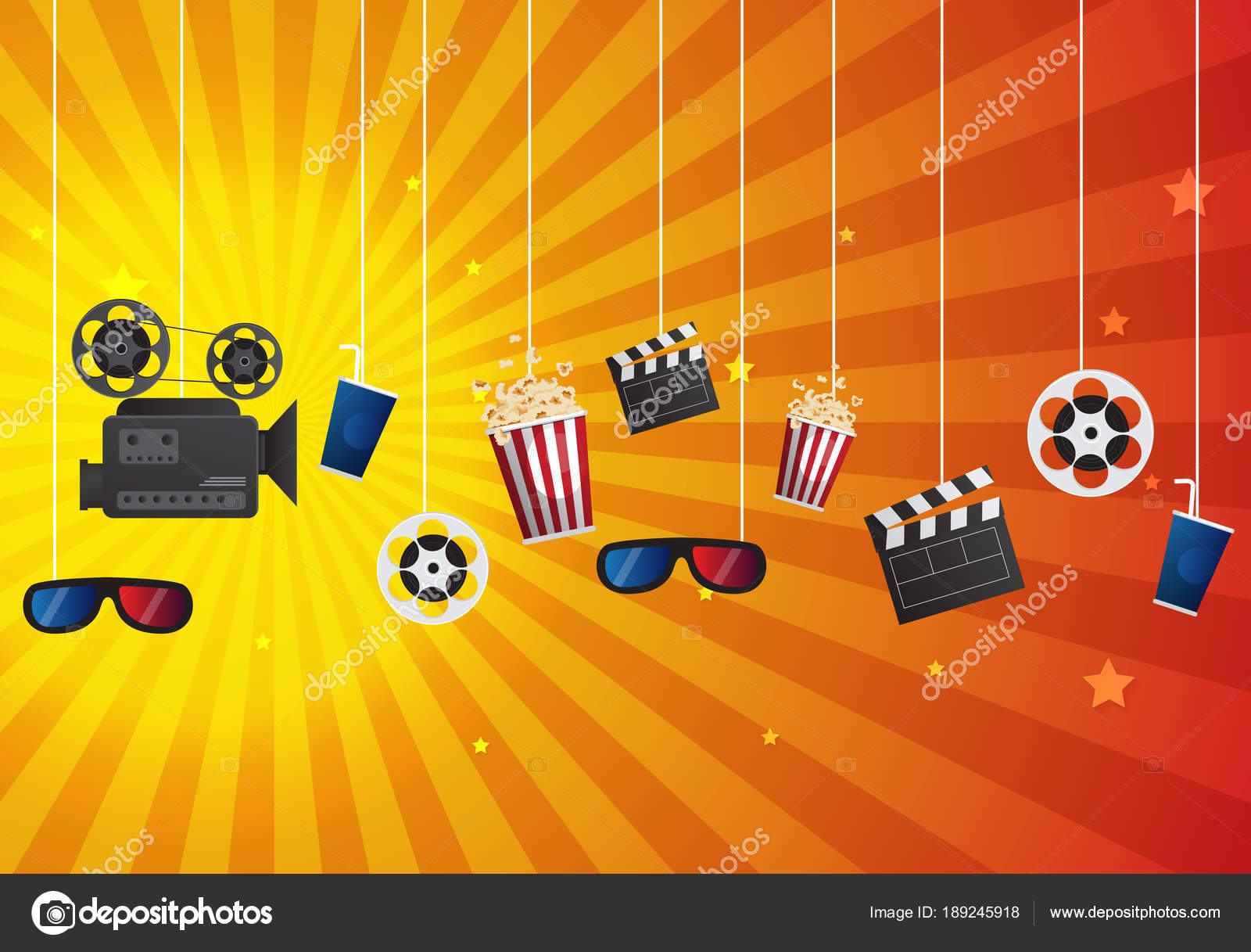 Movie Cinema Poster Design Vector Template Banner For Show With Seats Popcorn Tickets