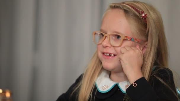 Expressive little girl telling interesting story