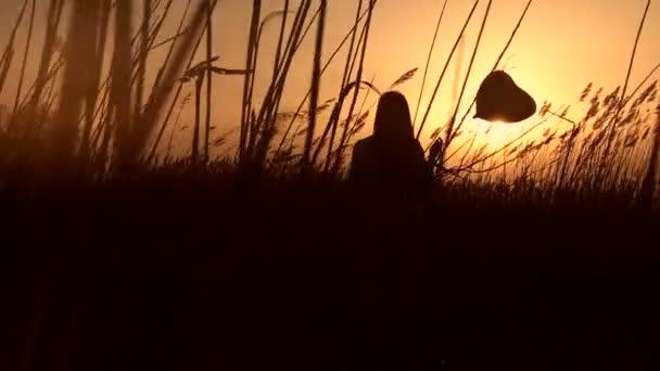 Ragazza carina con palloncino nella canna al tramonto