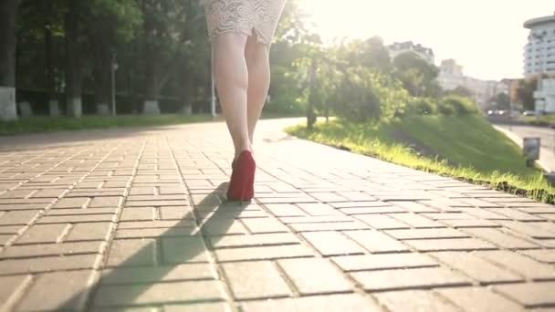 Moderní žena nosit vysoké boty na podpatku