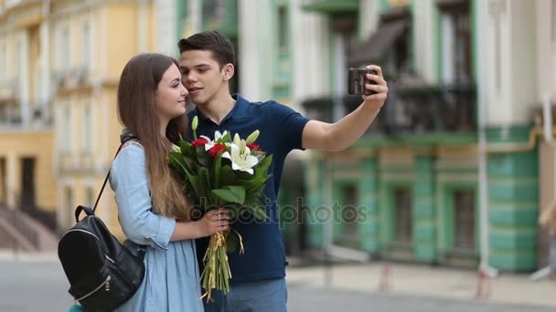 Loving couple talking self portrait with phone