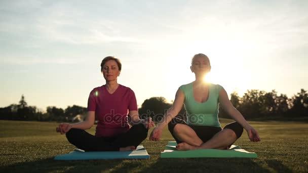 Vyrovnaná ženy v polovičním lotosu meditaci při západu slunce