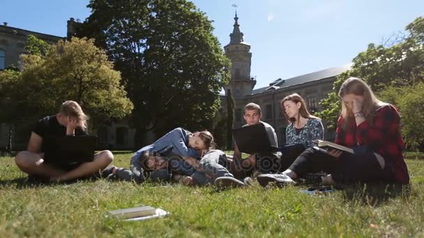 Skupina unavený studentů pilně studuješ na trávníku parku