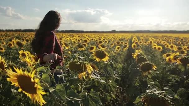 Mladá žena odchází ve slunečnicovém poli