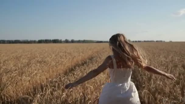 Carefree woman running through golden wheat field