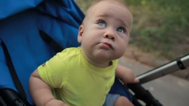 Zvědavý dítě chlapec sedí v kočárku venku