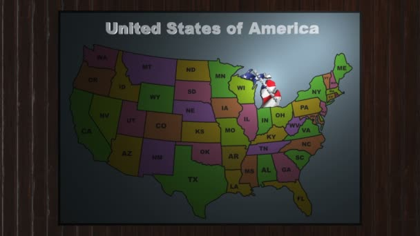 Michigan pull out from USA states abbreviations map — Stock Video ...