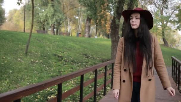 Prachtvolle Frau genießt Freizeit im Herbstpark