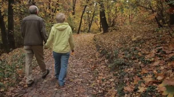 Senior couple enjoys romantic walk in autumn park