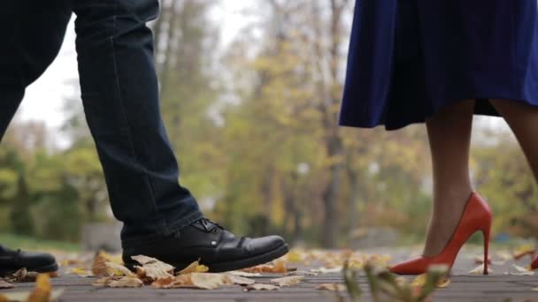 Couple in love on romantic date in autumn park
