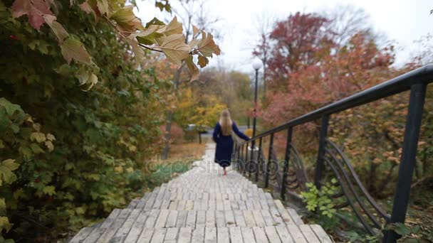 Attractive woman walking downstairs in autumn park
