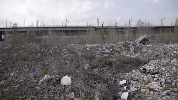 Panoramic view of illegal garbage dump in the city