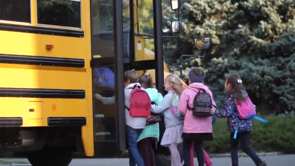 Diverse joyful pupils hurrying to enter school bus