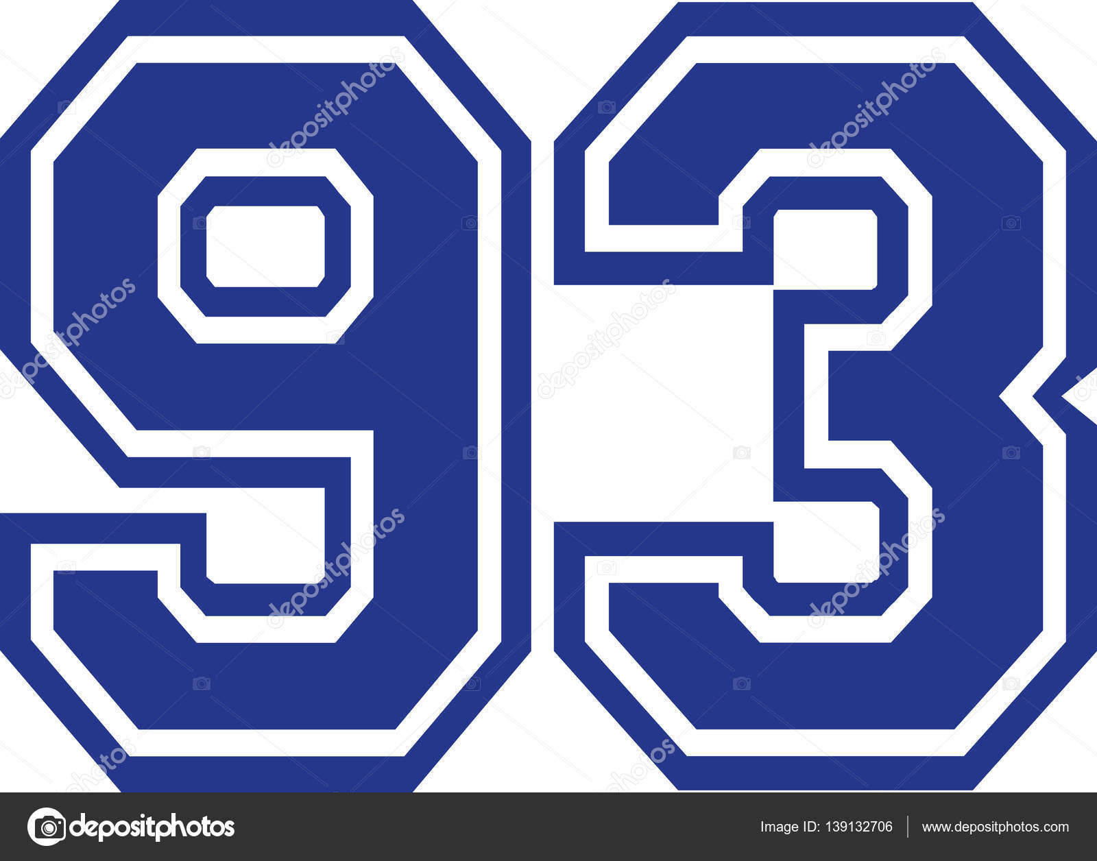 Ninety-three college number 93 — Stock Vector