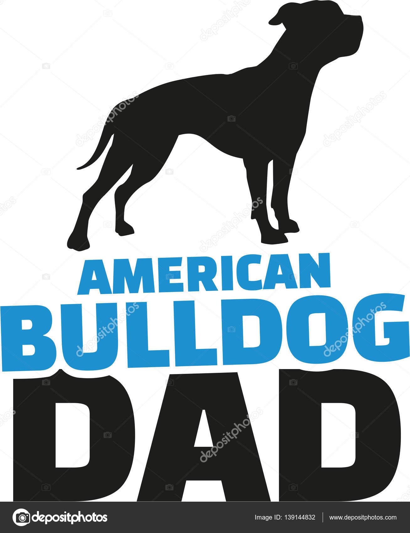 アメリカン ブルドッグお父さん犬シルエット ストックベクター