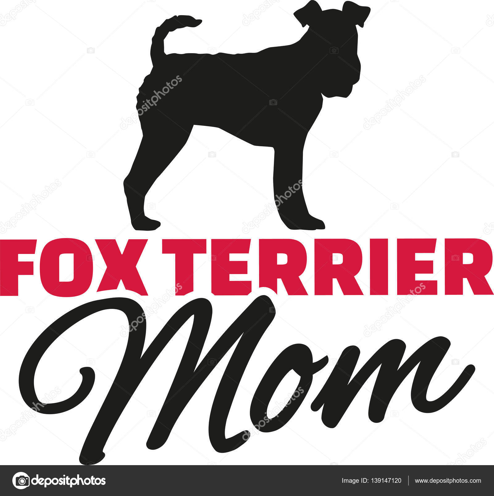 Fox Terrier Mom with dog silhouette — Stock Vector