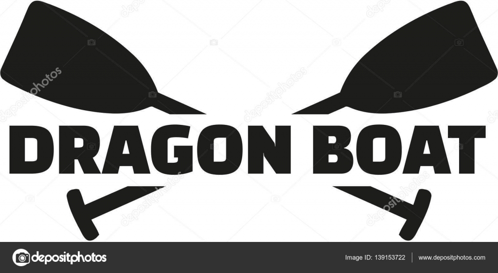 Dragon Boat With Crossed Paddles Stock Vector