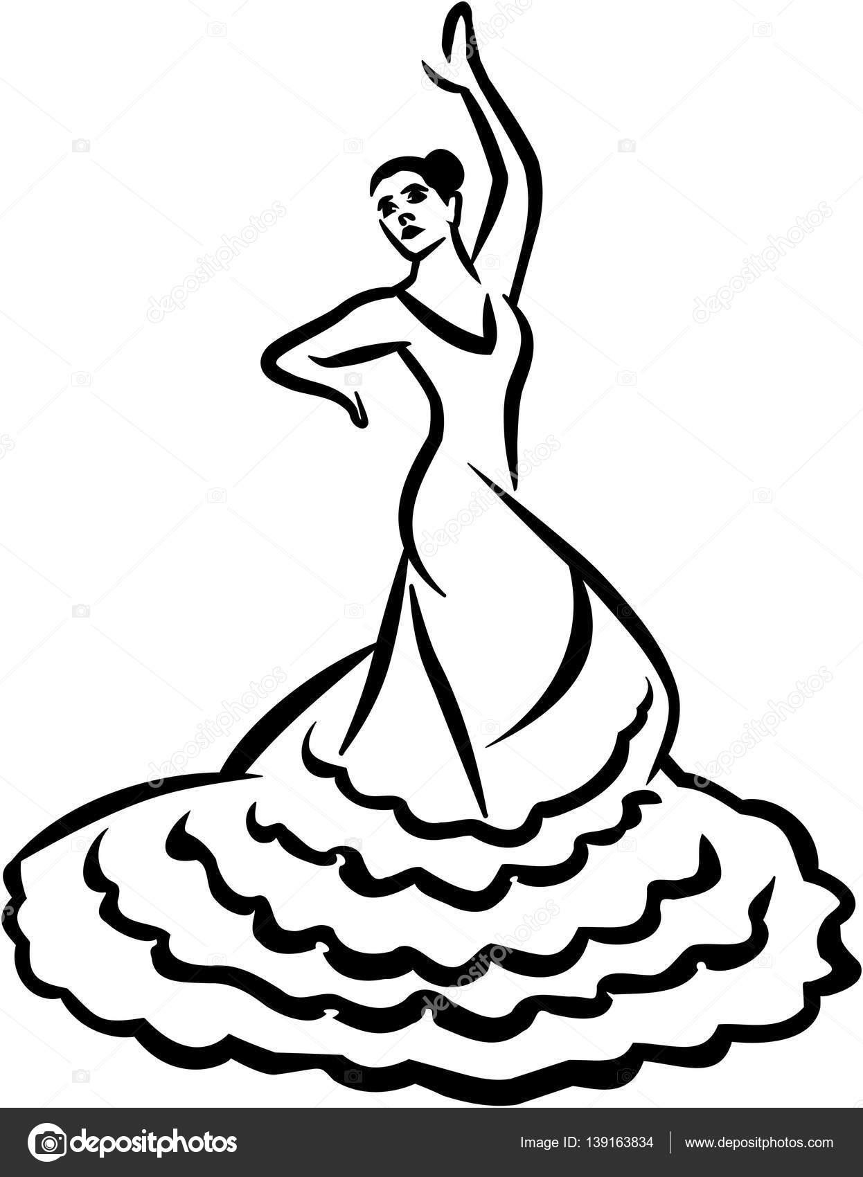 Danseuse de flamenco style de la calligraphie image - Dessin danseuse de flamenco ...