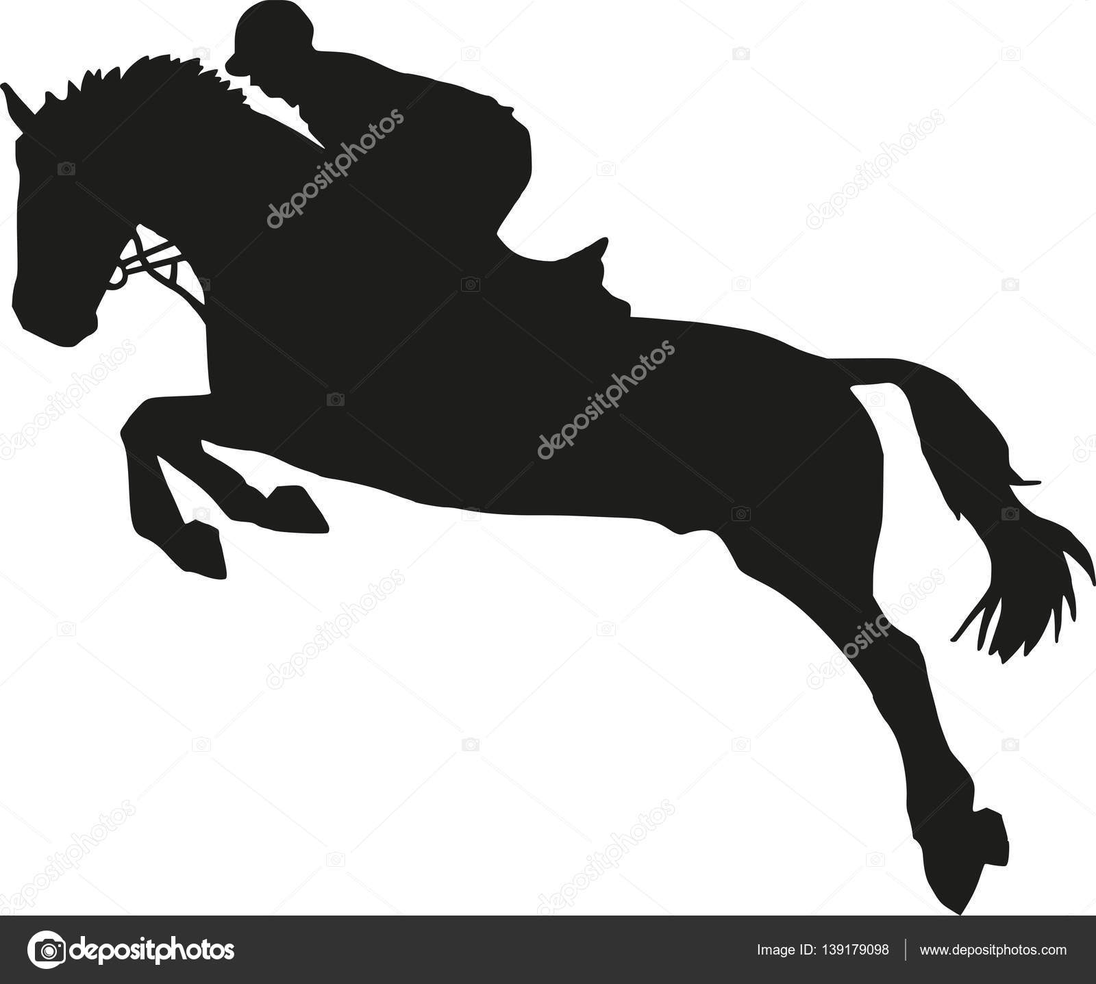 Show Jumping Silhouette Stock Vector C Miceking 139179098