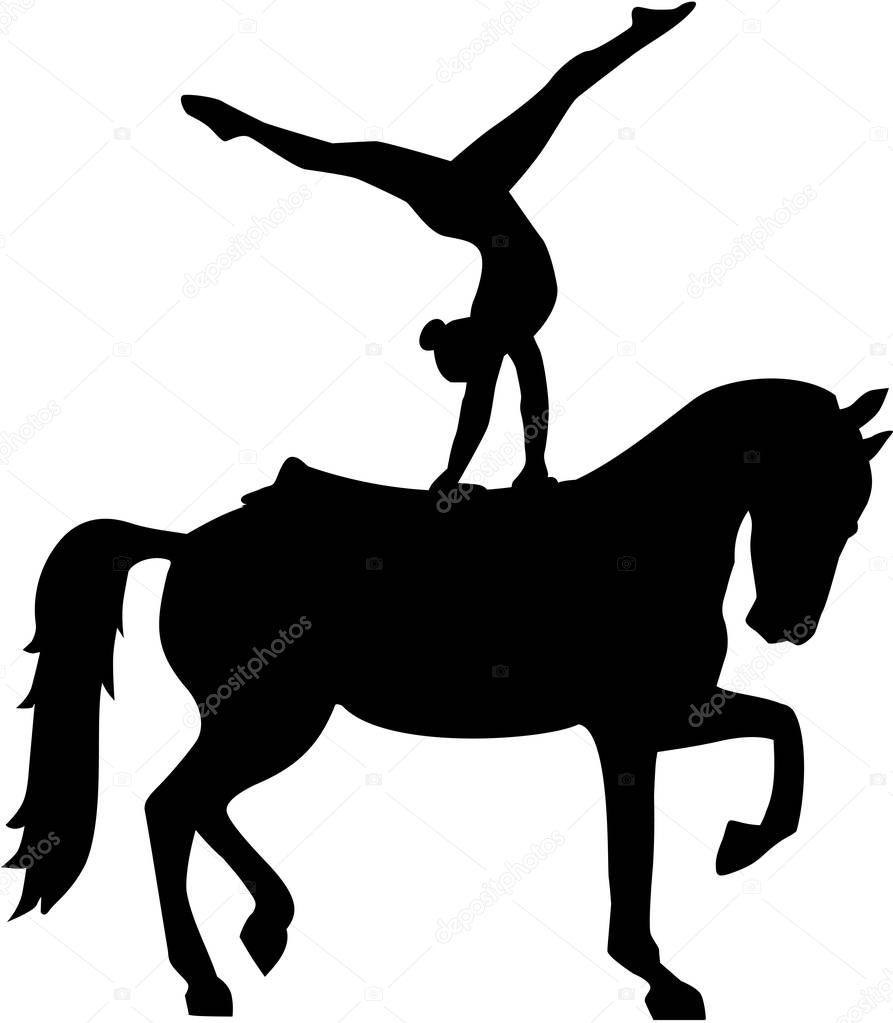 silhouette de saut de cheval — image vectorielle miceking