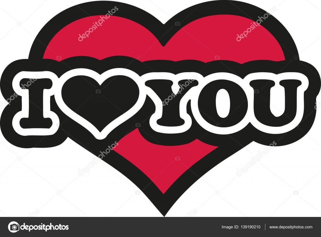 I Love You With Big Heart In The Background Stock Vector