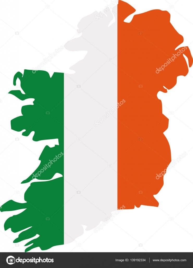 Irland-Karte-Silhouette in Farben der irischen Flagge — Stockvektor ...