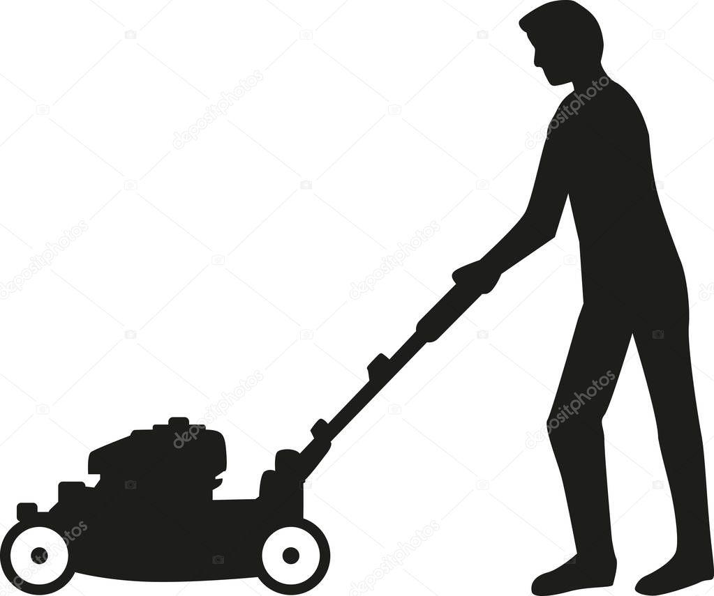 Mann mit Rasenmäher silhouette — Stockvektor © miceking ...