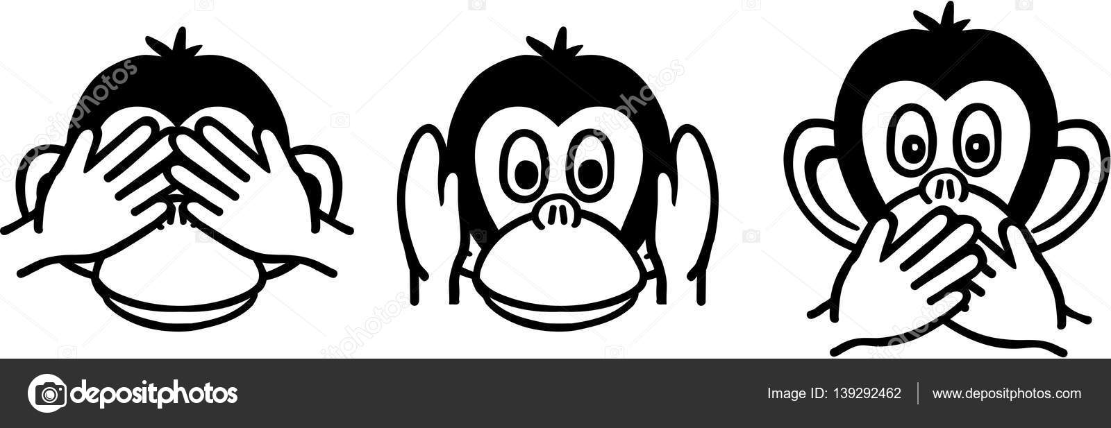 tres monos sabios — Archivo Imágenes Vectoriales © miceking #139292462
