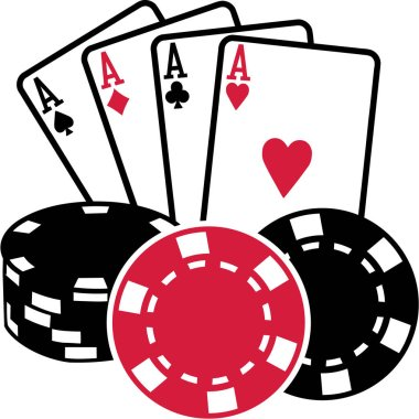 Four aces playing cards with coins poker