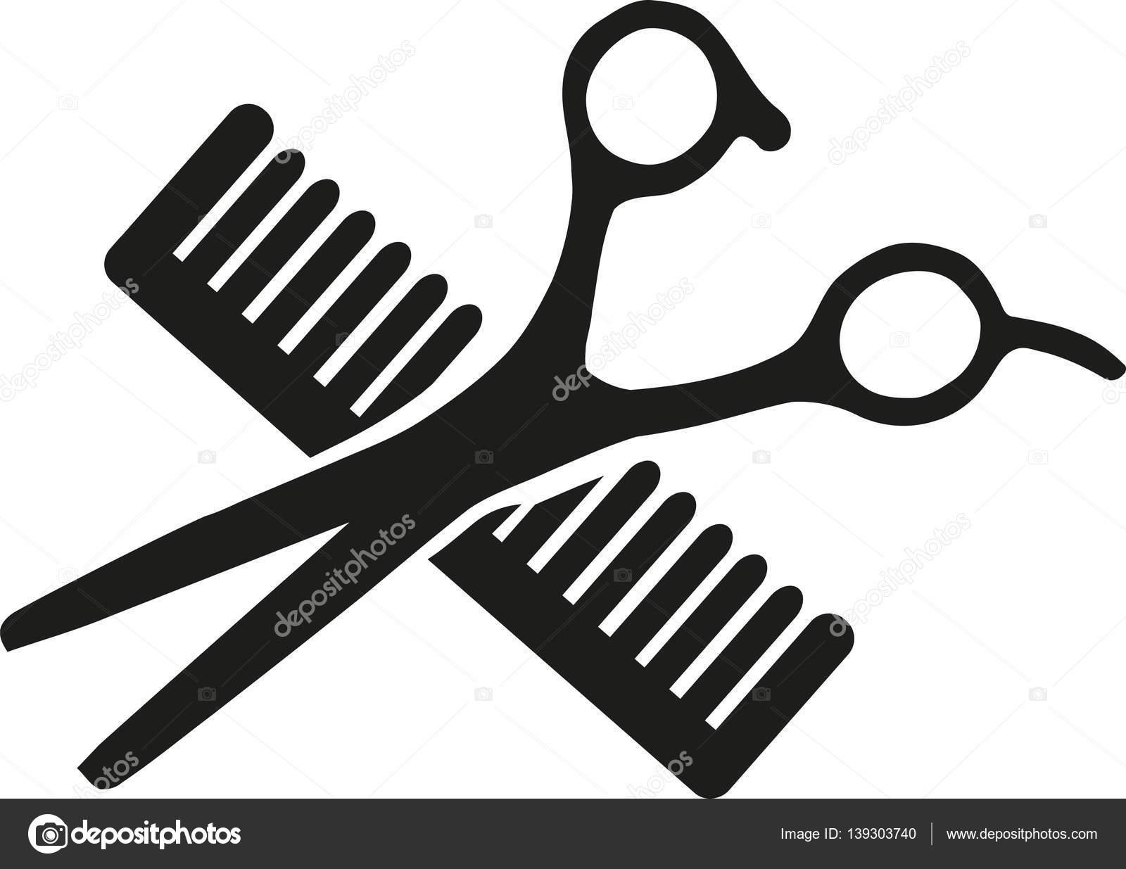 scissor and comb crossed stock vector miceking 139303740 rh depositphotos com Open Scissors Scissor Knife Crossed Logos