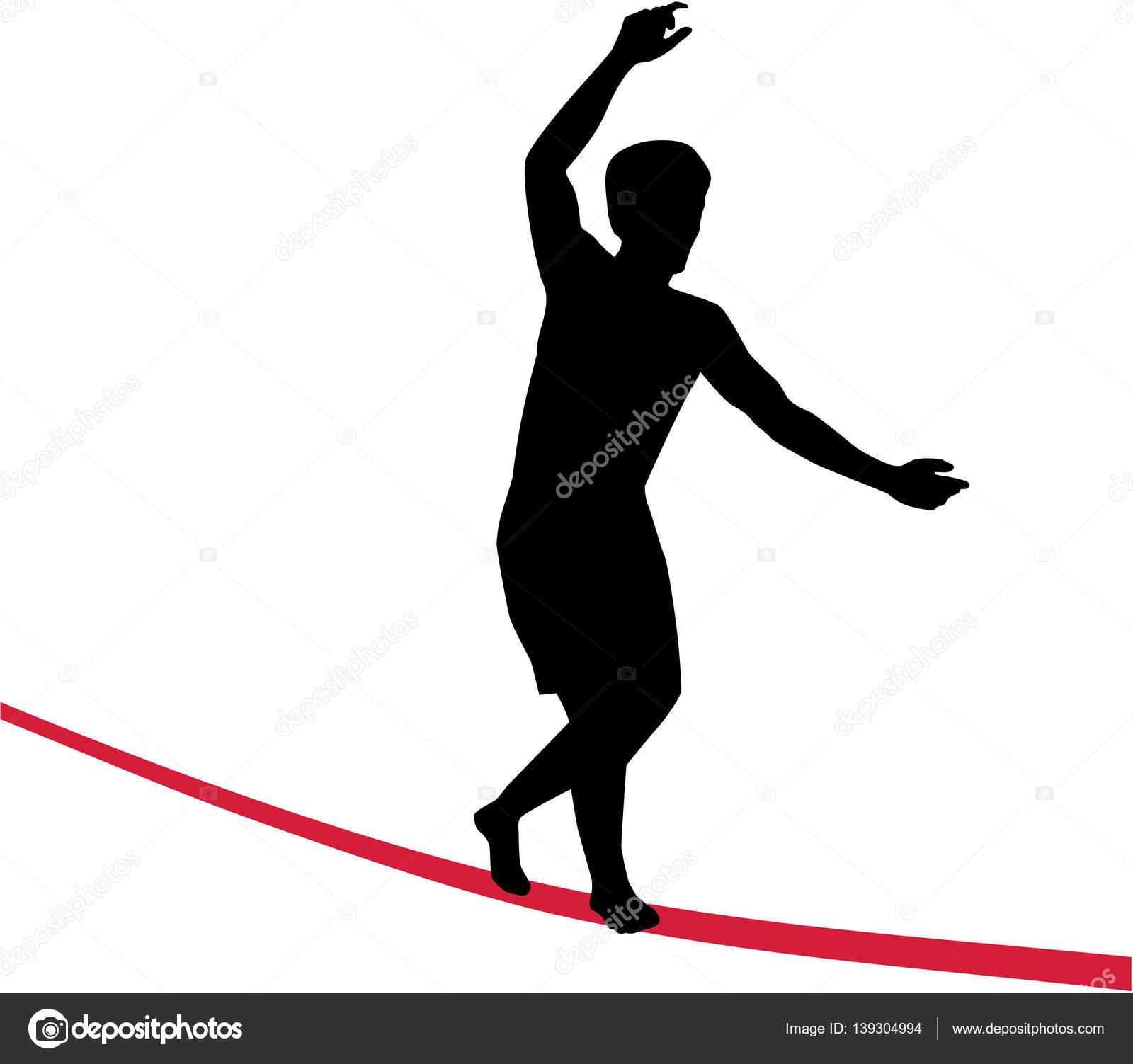 Slackline auf roten Draht — Stockvektor © miceking #139304994