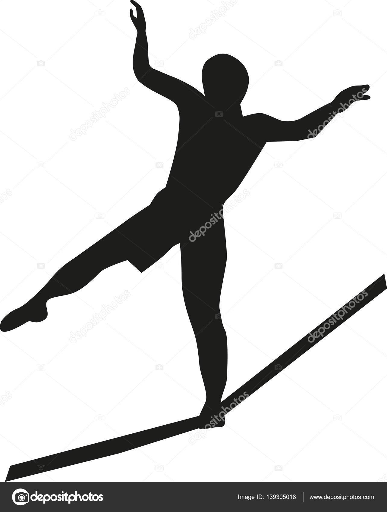 Slackline silhouette vector — Stock Vector © miceking #139305018
