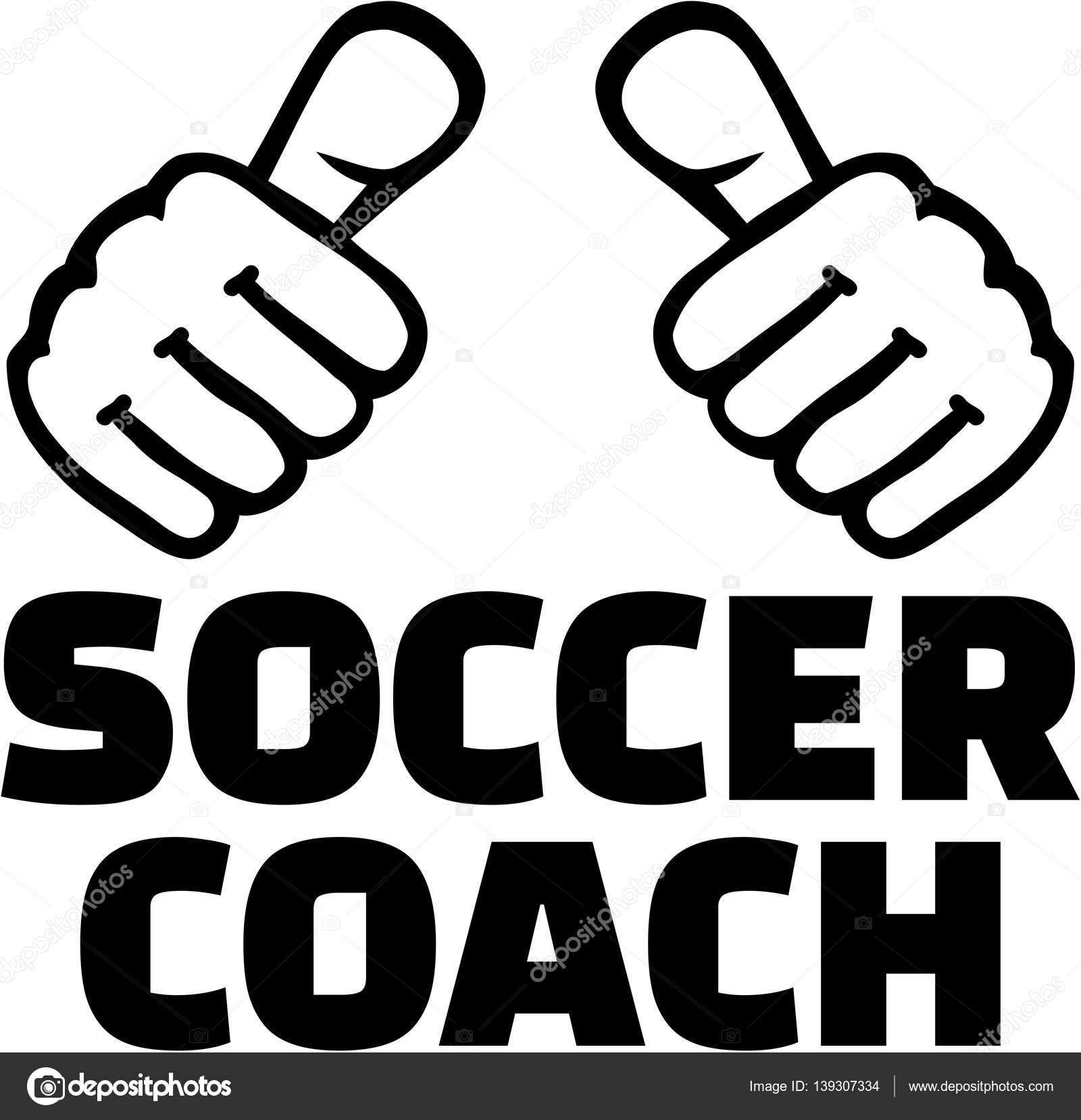 Fussball Trainer Mit Daumen T Shirt Design Stockvektor