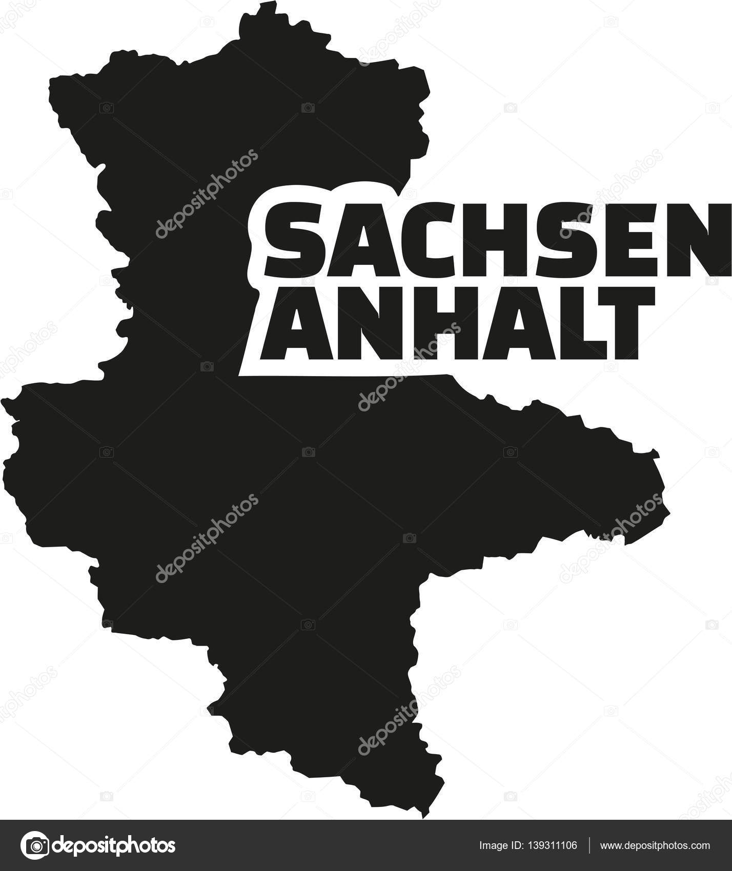 SaxonyAnhalt map with german title Stock Vector miceking 139311106