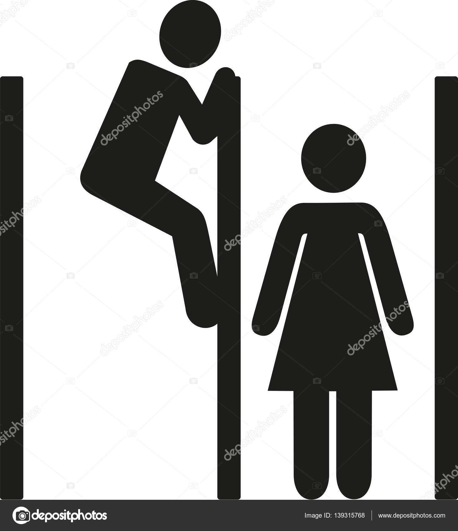 voyeur homme d espionnage sur la cabine de toilette. Black Bedroom Furniture Sets. Home Design Ideas